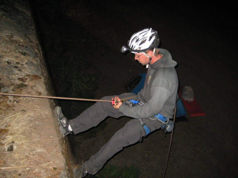 Rock Climbing Photo: One of my first times rapping.  Outside of Yosemit...