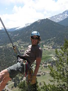 Rock Climbing Photo: Hangin' by a Thumb in Estes