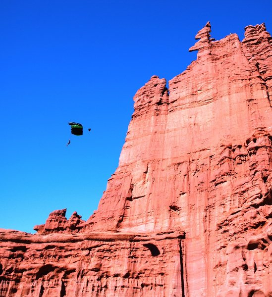 BASE jump off ancient art.