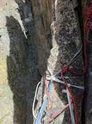 Rock Climbing Photo: Bail flake atop pitch 5.  Descends to a grassy led...