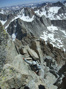 Rock Climbing Photo: Mike starting the downclimb off of Darwin on our r...