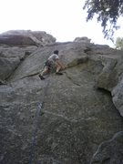 Rock Climbing Photo: Starting the crux.  (Try not to use the flake on t...