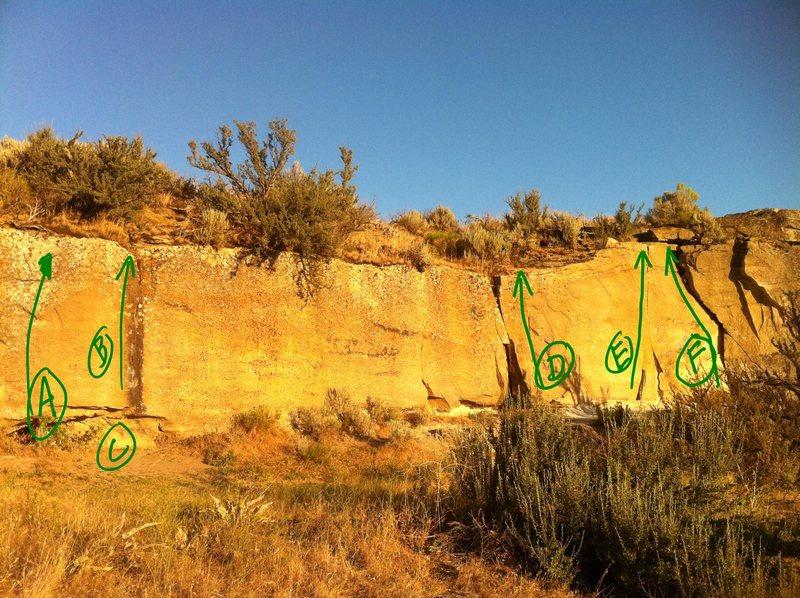 Rock Climbing Photo: A:Friction Slab B:Nova C:Super Nova D: E:Santa's S...