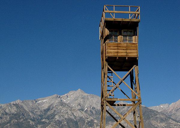 Manzanar guard tower and Mt. Williamson.<br> Photo by Blitzo.