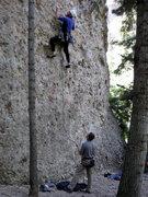 """Rock Climbing Photo: Roger on """"Meet the Buddah"""", Scott belayi..."""