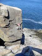 Rock Climbing Photo: My husband on a 5.9+/Sea Stack