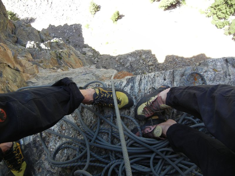 """Perfect belay ledge after pitch 3. Which is the 2nd pitch of """"Nearer to Thee""""."""