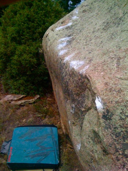 Rock Climbing Photo: Follow the line of chalked holds traversing the li...