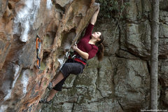 Rock Climbing Photo: Lindsay Reareon on Fuzzy.  This angle shows the ro...