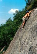 Rock Climbing Photo: Louis Babin on the crux in the seventies