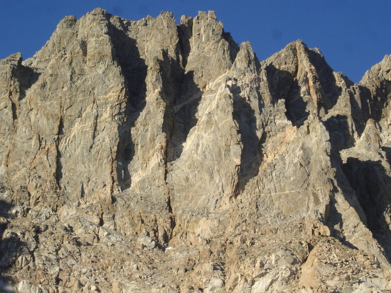 Mt. Winchell West Aretes. McKenzie's Arete is the right most ridge/arete with the two prominent towers.