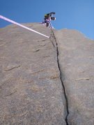 Rock Climbing Photo: Looking up the top part of the crux SPLITTER. Stee...