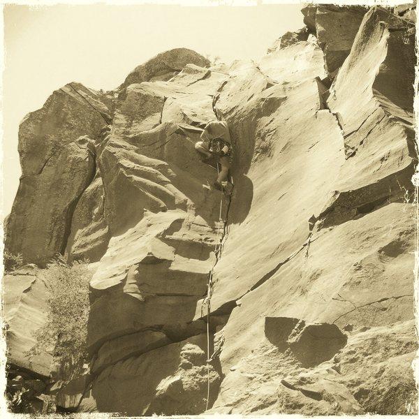 Rock Climbing Photo: Near the crux bulge