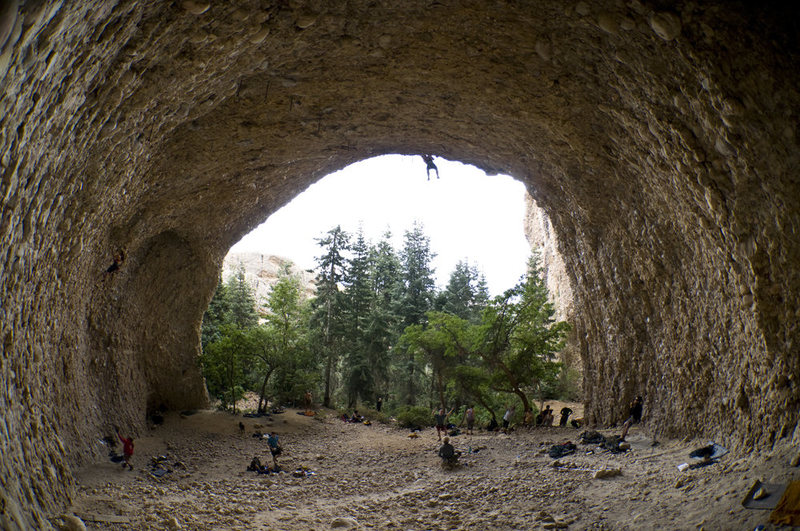 Pipe Dream Cave viewed from the back and through the fisheye lens.