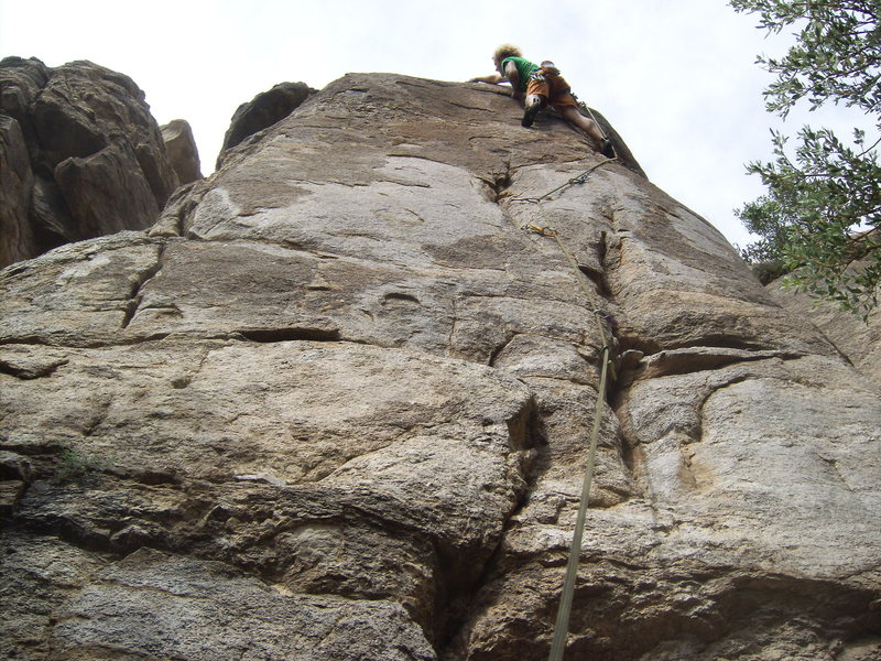 "After the first crux...entering my crux ""slab""  terrific old school route, take note to the smc hangers when you clip!"