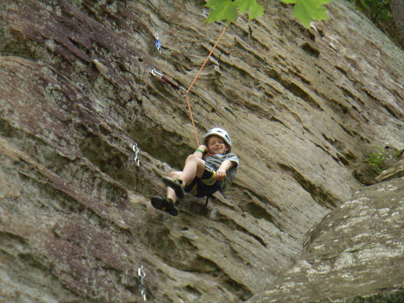 Red River Gorge Summer Trip 2011. Aidan climbing here.
