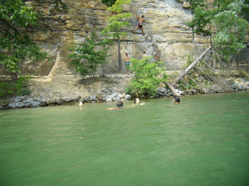 Swimming and climbing at Summersville Lake.  Family road trip summer 2011.