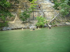 Rock Climbing Photo: Swimming and climbing at Summersville Lake.  Famil...
