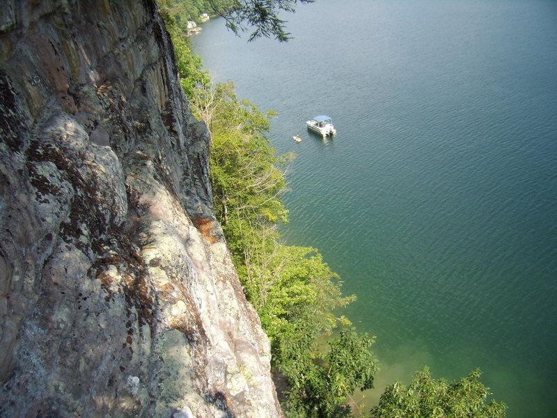 Rock Climbing Photo: Swimming and climbing at Summersville Lake.  Summe...