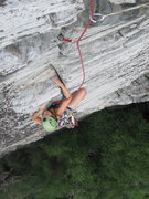 Rock Climbing Photo: Elizabeth pulling some of the last moves on the cr...