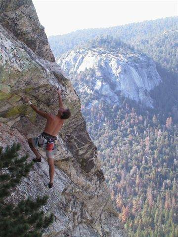 Rock Climbing Photo: Kris Solem assessing the second roof on Iron Maide...