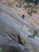 Rock Climbing Photo: Mike Keegan on Simian's Way, great first pitch, a ...