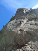 Rock Climbing Photo: Mike Keegan passing the first bolt on Asahi.