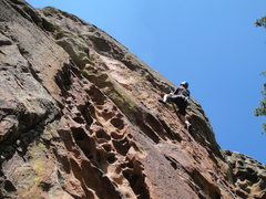 Rock Climbing Photo: Steep and pumpy for 5.9+, but it is a good route.
