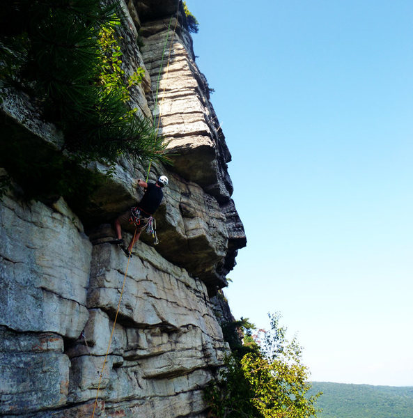 Rock Climbing Photo: me on Shockley's Ceiling 8/20/2011