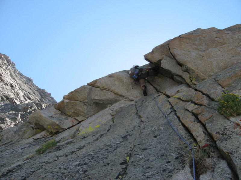 crux pitch. mid 10 jamming thru a bulge