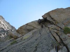 Rock Climbing Photo: crux pitch. mid 10 jamming thru a bulge