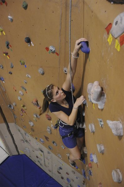 Taylor at downtown ymca<br> about 28 ft tall with 6 TR's no leading, 5.7 to 5.11 on every rope