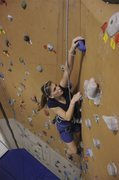 Taylor at downtown ymca <br />about 28 ft tall with 6 TR's no leading, 5.7 to 5.11 on every rope