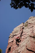 Rock Climbing Photo: Straight up from here. One big reach then great le...