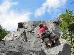 "Rock Climbing Photo: Burt on ""Creamy Caesar"""