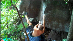 Rock Climbing Photo: Peter kicks for the foot.