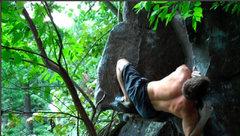 Rock Climbing Photo: Peter B Wrestles the top