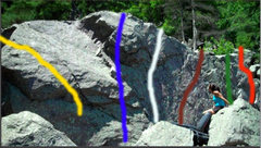 Rock Climbing Photo: Seams Fun is the Maroon line in the middle section...