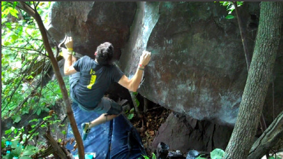 Rock Climbing Photo: Jeremy fishes for the toehook