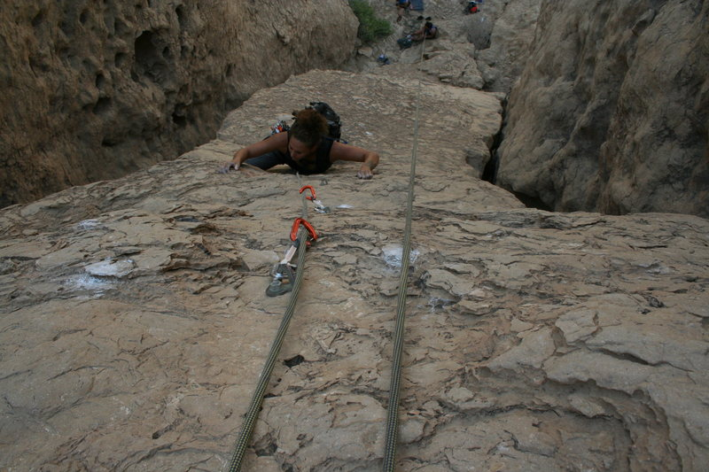 Photo by Brian Coones<br> <br> Alex Sims seconding the route.