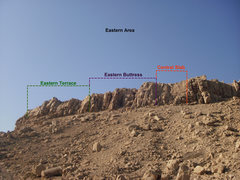 Rock Climbing Photo: Layout of the Eastern Section of Hatta Crag.