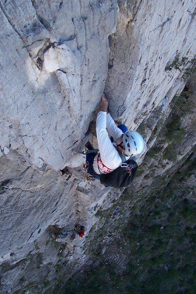 Rusty Baillie jams through the crux, pitch 3, Access Denied, El Potrero Chico.