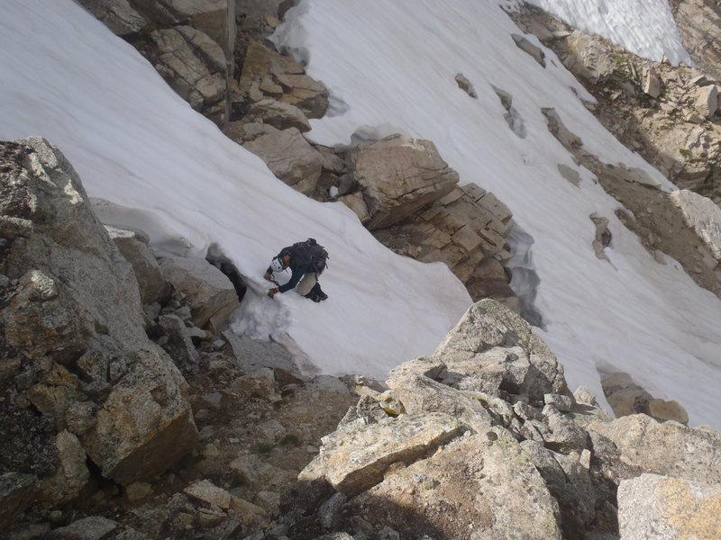 Kicking my way down Hopi Glacier... sketchy!