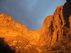 Rock Climbing Photo: golden light