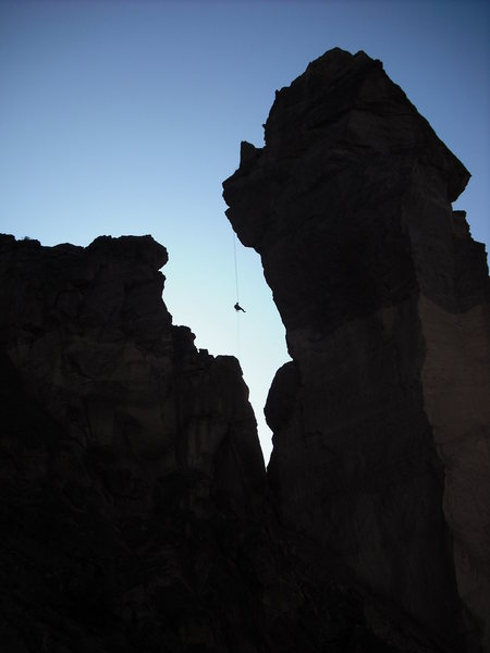 Rock Climbing Photo: Rapping off the Monkey after doing the West Face t...