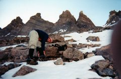 Rock Climbing Photo: Cramponing up for the ascent of the Trough, Long's...