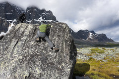 Rock Climbing Photo: Bouldering in Tonquin Valley, Ramparts in the back...