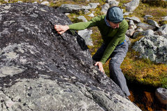 Rock Climbing Photo: Gavriel J. bouldering in Tonquin Valley. Photograp...