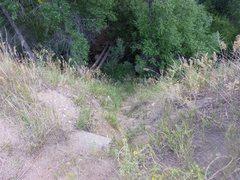 Rock Climbing Photo: Looking down from pulloff toward bridge crossing t...