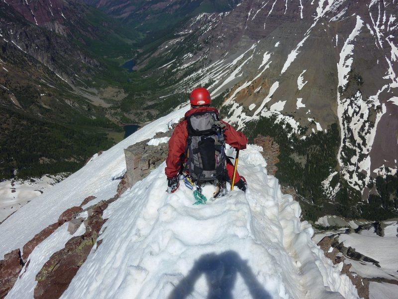 Rock Climbing Photo: John Brooks on ridge descent of N. Maroon. Don't s...